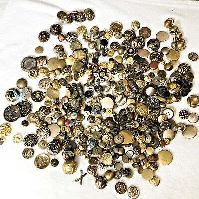 Vintage & Antique Huge lot of Metal Buttons, All Shapes & Sizes, Ornate, Shank