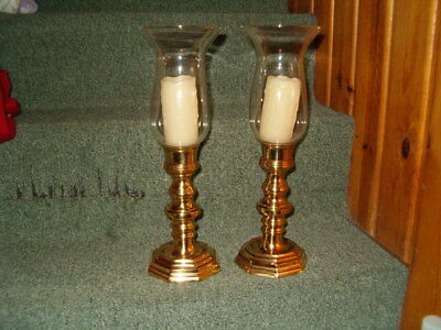 """Pair Solid Brass Candlestick Holders 15"""" Tall Octagon Base Candle Holders Glass"""