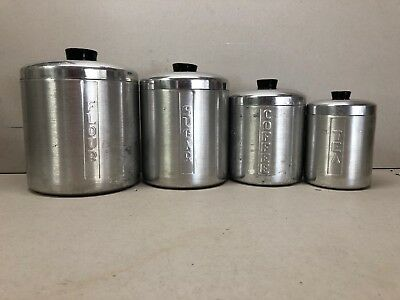 Vintage Heller Hostess Ware Canister Set of 4 Brushed Aluminum Made in Italy