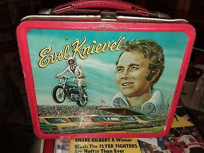 Vtg Original Evel Knievel Metal Lunchbox Aladdin 1974 Bright Colors Great Cond
