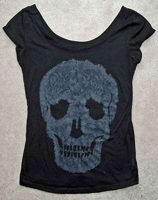 Collection of SKULL Tops T-Shirts Blouse Scarf Shawl Black White Women's Small