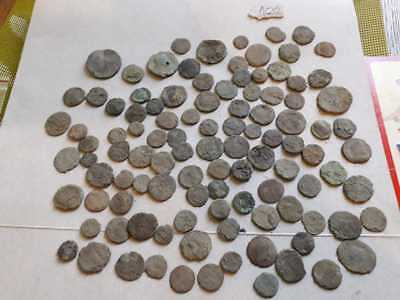 Lot Of 100 Ancient Roman Bronze Coins For Cleaned Low Quality