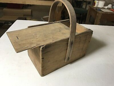 Antique Wooden Box With Sliding Lid And Wood Handle/Vintage Storage  kitchenalia