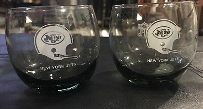 (2) Vintage  New York Jets NFL Roly Poly Whiskey Glasses Smokey Gray