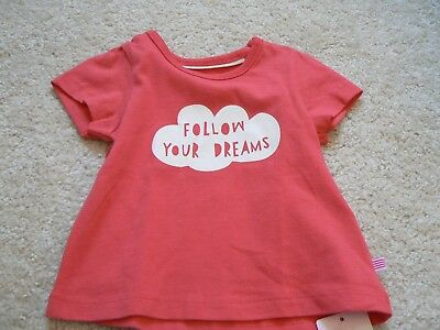 M&S Baby Girl Cotton T Shirt Follow Your Dreams 0 - 3 months BNWT