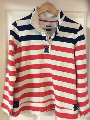 Joules Striped Sweater Jumper Pink White Size 10
