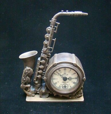 Collectible Handmade Carving Statue saxophone Bronze Mechanical Clock Art Deco