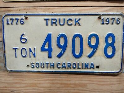 1976 South Carolina 6 Ton Truck License Plate/Tag - 49098 ~ Embossed