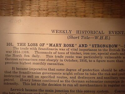 NAVAL DOCUMENT LOSS MARY ROSE and STRONGBOW 1917 BRUMMER BREMSE 1st WW GERMAN
