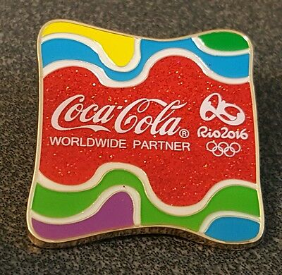 2016 Rio Olympic COCA COLA COKE LARGE GLITTER  Pin