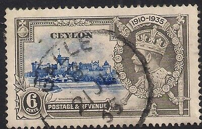 Ceylon 1935 KGV 6cts Silver Jubilee SG 379f Diagonal Lines by Turret ( H1171 )