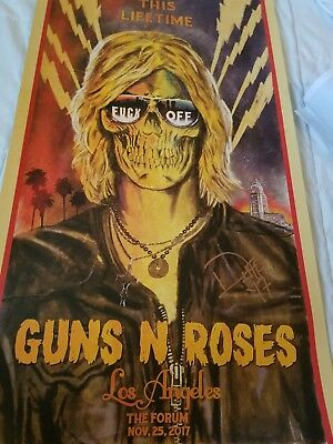 AUTOGRAPHED BY DUFF.  Guns N Roses Los Angeles The Forum Lithograph 103/300