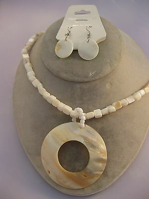 Estate Costume White Shell Silver Tone Necklace and Pierced Earring Set