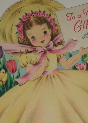 "Vintage greeting card, beautiful girl wearing yellow, Norcross 5 1/2"" used"