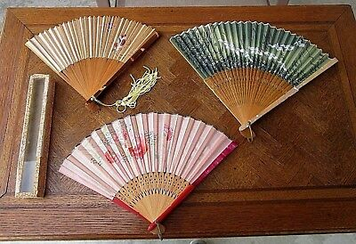 3 Antique Vtg Japanese Hand Fans Mother Of Pearl Handpainted Silk & Carved Wood