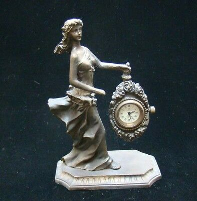 Collectible Handmade Carving Statue Bronze People Mechanical Clock Art Deco