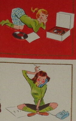 "Vintage birthday card, cute teenage girl with telephone, record player, 6"" used"