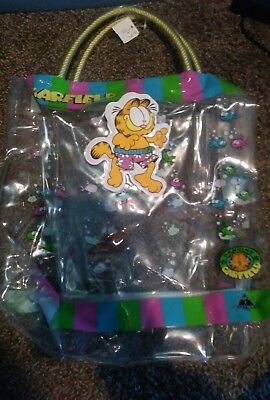 Garfield Vintage Clear Plastic Tote pink blue green with pocket