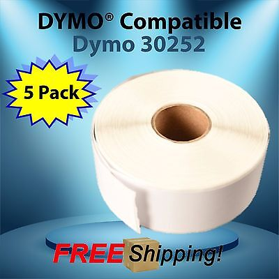 Dymo® Compatible 30252 White Rectangular Shaped Labels 5 Rolls Removable