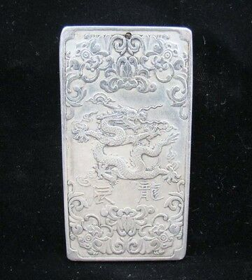 Collectable Handmade Carved Statue Tibet Silver Amulet Pendant Zodiac Dragon