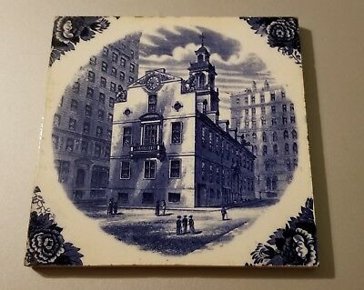 Antique EXTREMELY RARE Wedgwood Tile of Old State House in Boston 1911 England