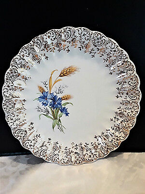 Plates American Limoges Set of 4 TC 5388 Golden Wheat Dessert with 22K Gold