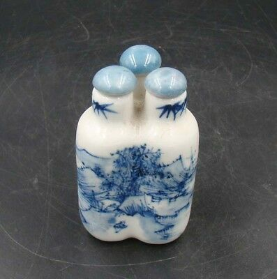 Collectible 100% Handmade Painting Porcelain Snuff Bottles 3 Connected 009