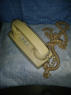 Vintage AT&T Push Button Tan Kitchen Wall Phone.