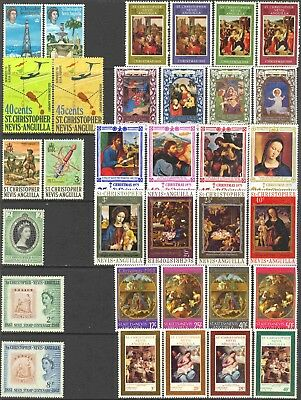 St. Kitts - Nevis Mini-Collection of 51 All Different Unused Stamps