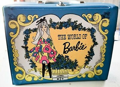 1971 Matel The World Of Barbie Blue Vinyl Lunch Box & Thermos