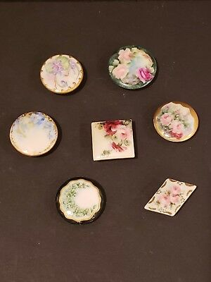 "Vintage Antique Lot of 7 1"" Stud Buttons Porcelain Hand Painted Victorian"