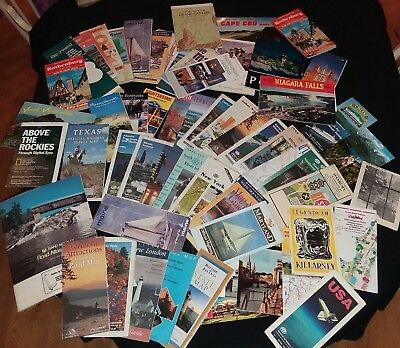 Huge Lot of 60+ US and Worldwide Road Maps, Atlases, Guides, and Travel Booklets