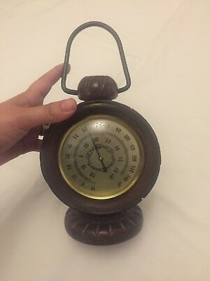 Vintage French Wooden Desk Thermometer RARE Carriage Clock Shape Wood Case