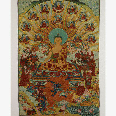 Tibet Collectable Silk Hand Painted Buddhism Portrait  Thangka RK039+a