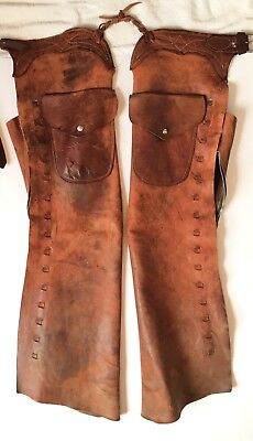 Vintage 20th Century American Old West Cowboy Leather Chaps with Pockets