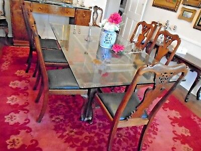 Dinning Room Glass Top Table with 6 Vintage/ Antique Chairs Married Set