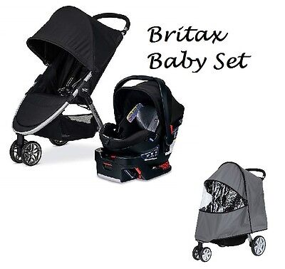 NEW Britax B-Agile 3 & B-Safe 35 Elite Travel System + Rain Cover for Stroller