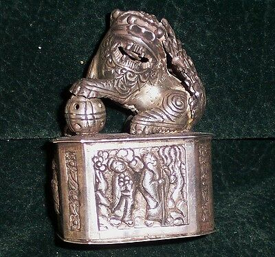 Late 19th-early 20thc Chinese Silver Repousse Box Foo Dog with Moveable Parts