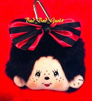 Monchhichi Pass Card Holder Coin Pouch Plush Toy Key Chain Wallet Doll Purse Bag