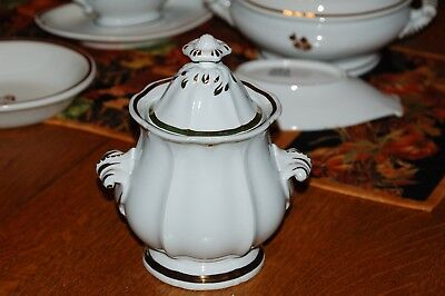 Vintage White Ironstone Copper Luster Sugar Bowl