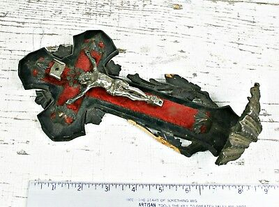 Antique Black Forest Velvet Carved Wooden Religious Crucifix Cross Holy Water