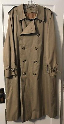 Burberry Men's Tan Double Breasted Trench Coat with Zip in Wool Liner 40 R