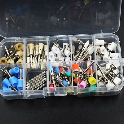 1 Set Dental Mixed Color Nylon Latch Flat Polishing Prophy Brushes Cup 100Pcs