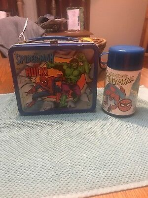 Vintage 1980 Hulk Spiderman Captain America Metal Lunchbox and Thermos Aladdin