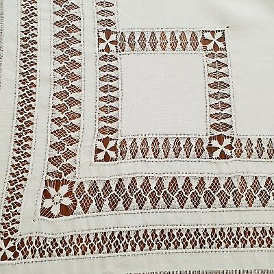 Antique Linen And Lace  Pulled Thread Square Tablecloth