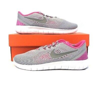 buy online 06ac6 8fc3d Nike Free RN (GS) 833993-001 Wolf Grey Pink White Youth Girls Running