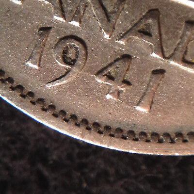 QJ31 Error Coin Canada 5 cents George VI 1941 Die crack  on Date and legend (bot
