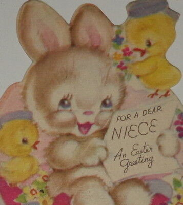 "Vintage 1946 greeting card, sweet bunny rabbit with chicks, Rust Craft, 6"" used"