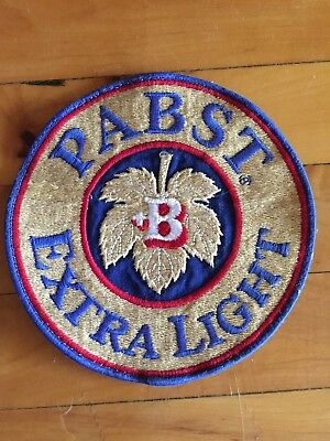 """Large 6"""" Vintage uniform patch PABST EXTRA LIGHT beer unused new old stock"""