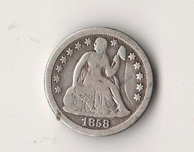 1858 SEATED LIBERTY DIME Coin 90% SILVER Cents AUTHENTIC US COINS Collectible A+